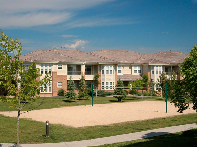 Parker apartments and townhomes near Dish Network - Meadows At Meridian Sand volleyball court