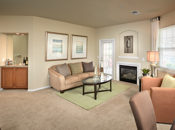 Centennial apartments for rent near Charles Schwab - Meadows At Meridian Spacious living room interior