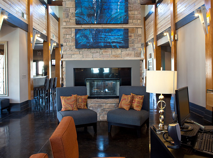 Ridgeview Clubhouse lounge with fireplace Austin TX - South Austin