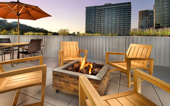 The Matisse Rooftop lounge with firepit and stunning views Portland OR - South Waterfront