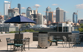 Neptune Rooftop terrace with BBQ grilling station Seattle WA - SLU