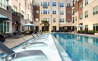District at Greenbriar Resort Style pool and sundeck Houston TX - Rice Village