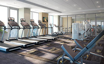 SkyHouse Nashville Rooftop Fully equipped fitness center Nashville TN - Music Row