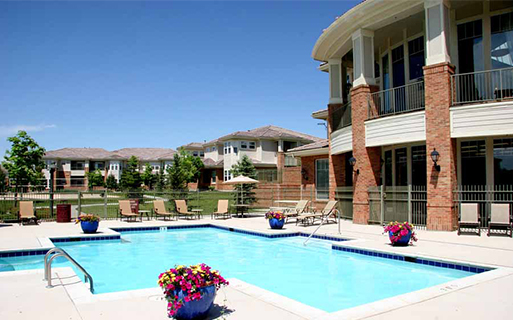 Meridian Business Park apartments for rent in Parker - Meadows At Meridian Outdoor swimming pool with sun deck