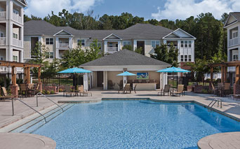 Chancery Village Saltwater pool with outdoor TV lounge Cary NC
