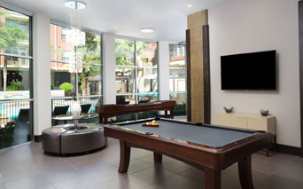 Metro Greenway Resident lounge with billiards table Houston TX - Upper Kirby Houston
