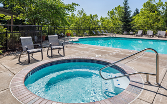 Cascade Summit Outdoor pool and spa with sundeck and BBQ grills West Linn OR - Trillium Creek Elementary School