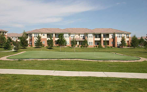 Parker apartments for rent near Ridgegate - Meadows At Meridian Outdoor putting green and sand volleyball court