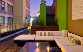 Brockman Lofts Poolside terrace and outdoor grilling station Los Angeles CA - DTLA