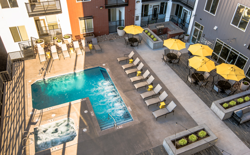 Hartley Flats Resort style saltwater pool and spa Denver CO - RiNo