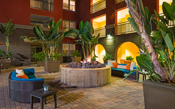 Apartments for rent in the San Diego Unified School District - Mira Bella Large fire pits