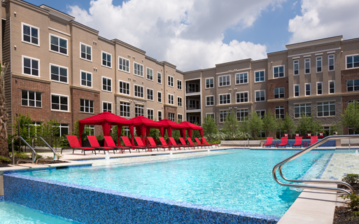 District at Washington Resort style pool with private cabanas Houston TX - Greater Heights