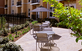 The Reserve at Tysons Corner Tranquil courtyards surround community Vienna VA - Mosaic District