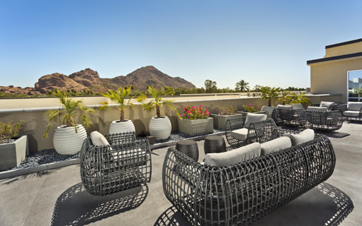 Citrine apartments for rent in Camelback, AZ - Rooftop terrace overlooking Camelback Mountain