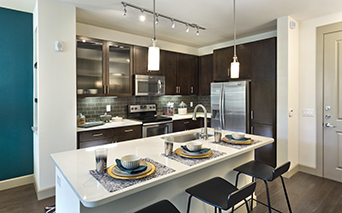Citrine apartments in Arcadia, AZ - Modern kitchen with granite or quartz countertops in kitchen and bath