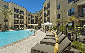 Arcadia Apartments in Phoenix - Citrine Resort style heated pool and spa with sauna