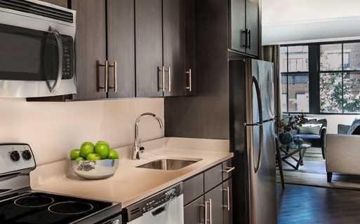 Apartments near 14th street NW DC - 14W Kitchen espresso cabinets and quartz counters