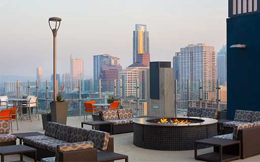 Austin Tx Apartments Downtown   SkyHouse Austin Poolside Terrace With  Outdoor TVu0027s And Fireplace