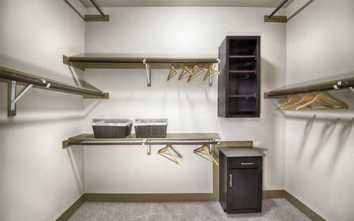 Strata Apartments - Walk in closets with custom shelving - Knox Henderson Apartments