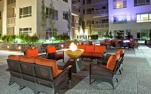 Bellevue Square apartments near Nintendo - Metro 112 Courtyard lounge with water features and firepit