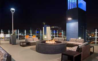SkyHouse Houston Rooftop Lounge with fireplace Downtown Houston TX