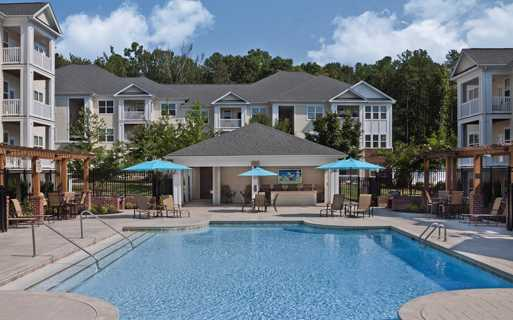 Chancery Village apartments in Cary near Cisco - Saltwater pool with outdoor TV lounge