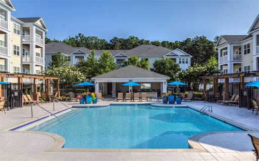 Chancery Village apartments near rdu airport - Saltwater pool with outdoor TV lounge