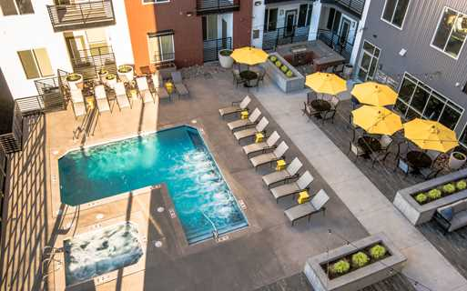 Hartley Flats Resort style pool and spa Denver CO - RiNo