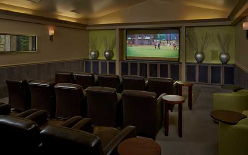 Dove Valley apartments for rent in Aurora - Coyote Ranch Theater Room with large HD screen