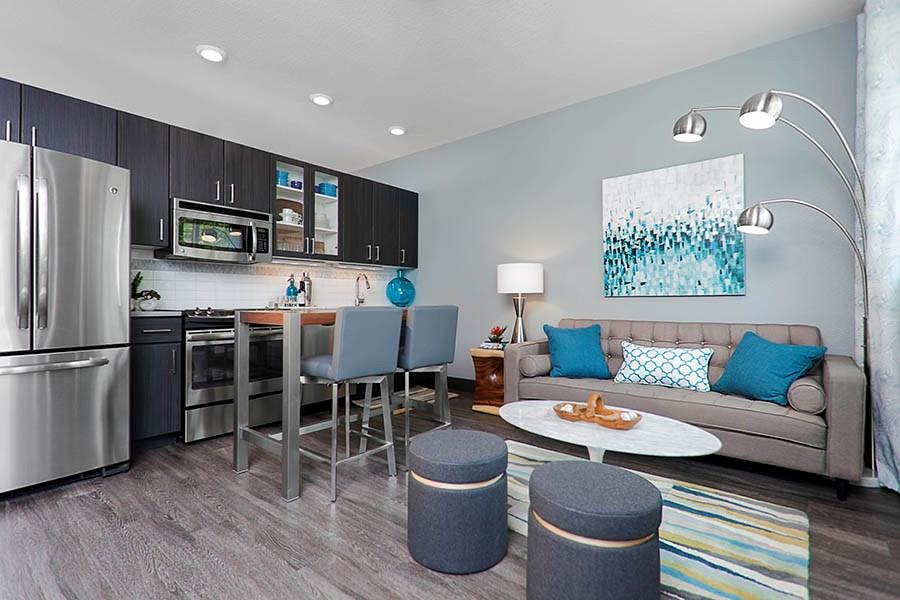 Lohi apartments studio lohi denver co photo gallery for Studio apartment kitchen appliances