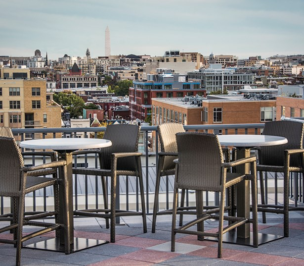14W Rooftop terrace with scenic mountain views and lounge seating Washington DC - North Shaw