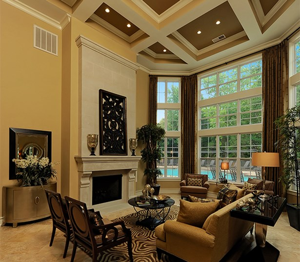 Gramercy Square At Ayrsley Expansive Clubhouse overlooking pool Charlotte NC - Steel Creek