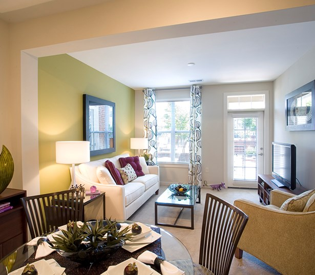 Gramercy Square At Ayrsley 9 feet ceilings open dining living room Charlotte NC - Olde Whitehall