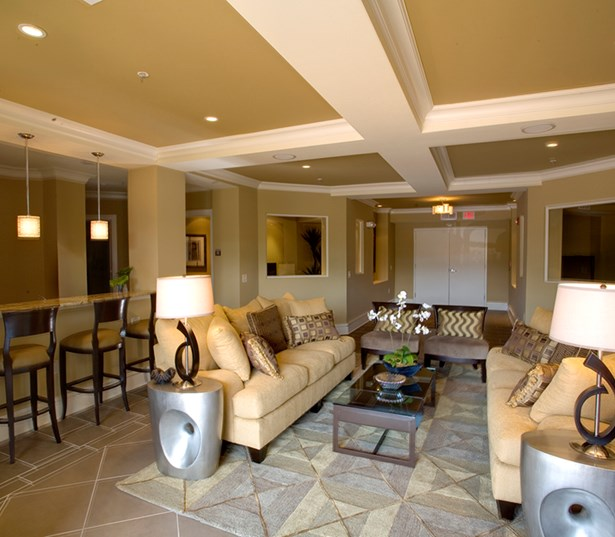 Gramercy Square At Ayrsley Resident lounge with media and game room Charlotte NC - Berewick