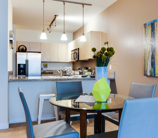 Portland Apartments for rent by John's Landing - The Matisse Spacious living/dining room interiors