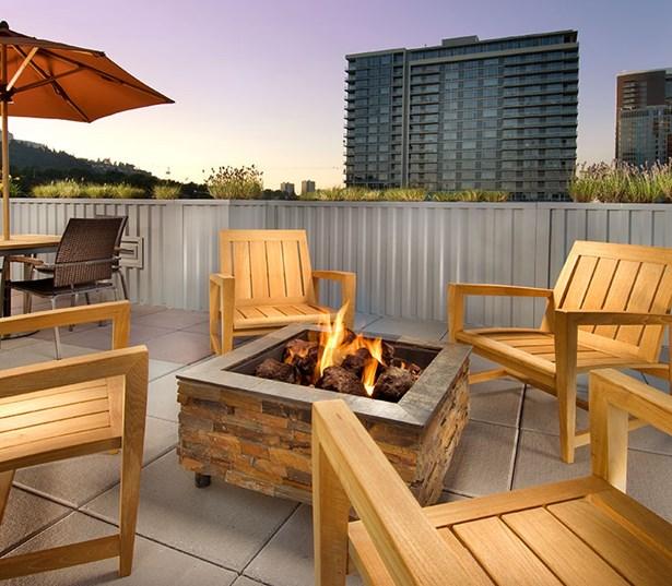 The Matisse Rooftop lounge and outdoor fireplace Portland OR - OHSU