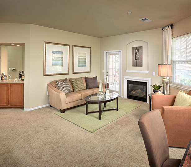 Parker apartments near Western Union - The Meadows At Meridian living room with fireplace