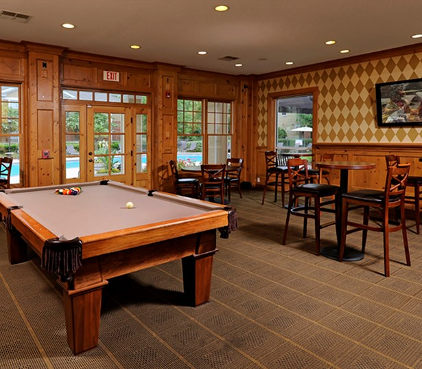 Promenade Park Clubhouse with billiards bar tables and TV Charlotte NC - Blakeney