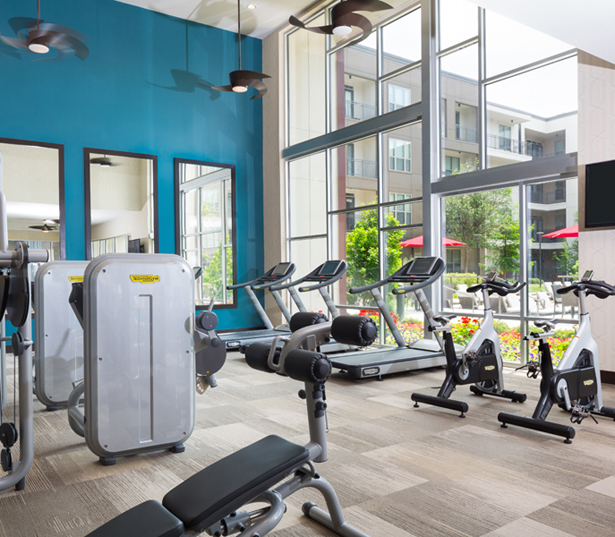 Strata Apartments - fitness center features Technogym equipment - M Streets Apartments