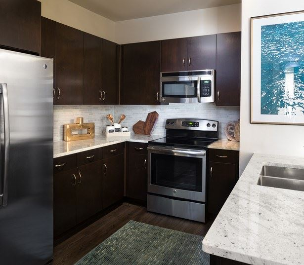 apartments near the domain austin tx - Addison at Kramer Station Kitchen stainless steel appliances