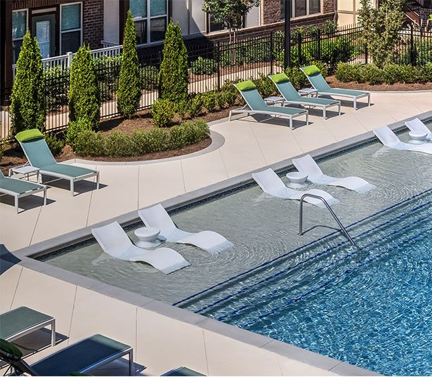 Adams Creek apartments near Mall of Georgia - Artisan Station Apartments pool