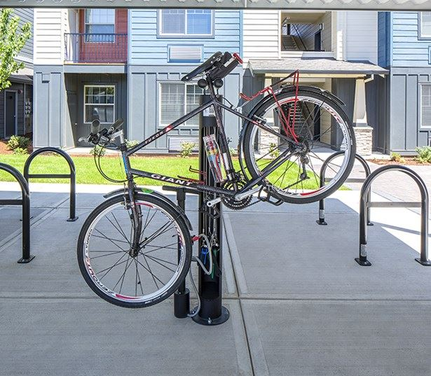 Victory Flats apartments near IBM in Beaverton - Covered bike parking with main maintenance stations