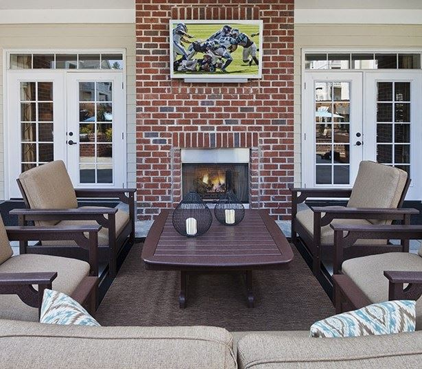 Cary Apartments in Parkside - Chancery Village Poolside Lounge with TV and Fireplace