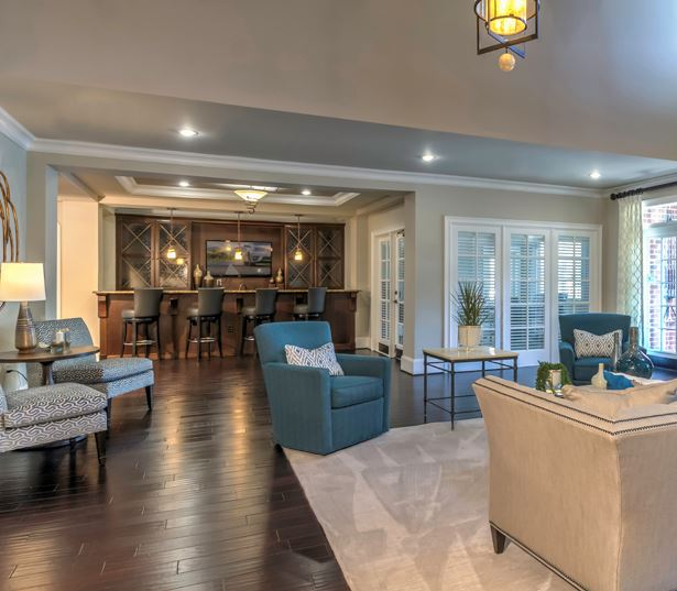 Cary Apartments in Research Triangle Park - Chancery Village Clubhouse with bar