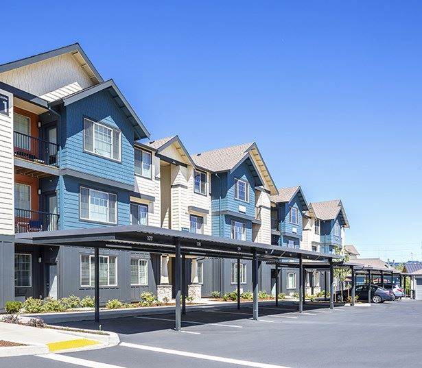 Beaverton apartments for rent near the Elmonica Max Station - Victory Flats Garages and carports