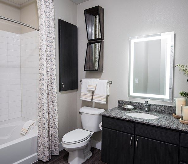 Hartley Flats Modern bathrooms with framed mirrors Denver CO - Downtown