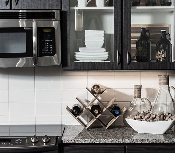 Hartley Flats Modern kitchen with subway style backsplash Denver CO - RiNo