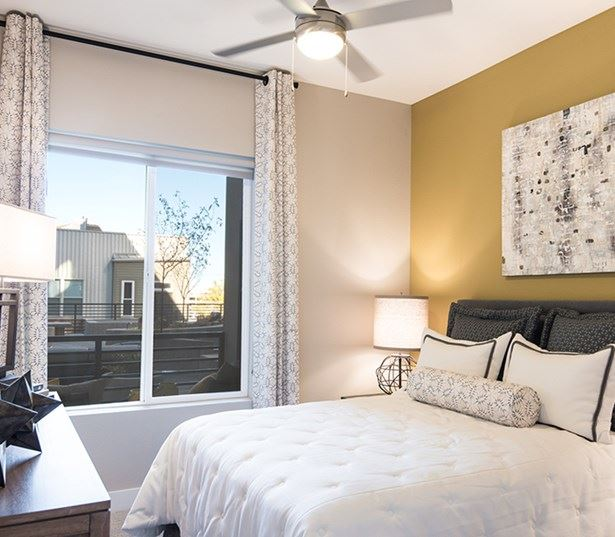 Hartley Flats Ceiling fans in bedroom and living room Denver CO - RiNo