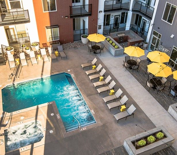 Hartley Flats Resort style saltwater swimming pool Denver CO - RiNo