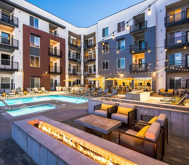 Hartley Flats Sundeck with lounge seating Denver CO - Ballpark